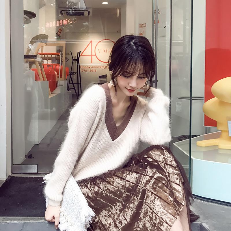 2017新款气质时髦小香风冬季v领毛衣裙子两件套装女秋冬装时尚潮