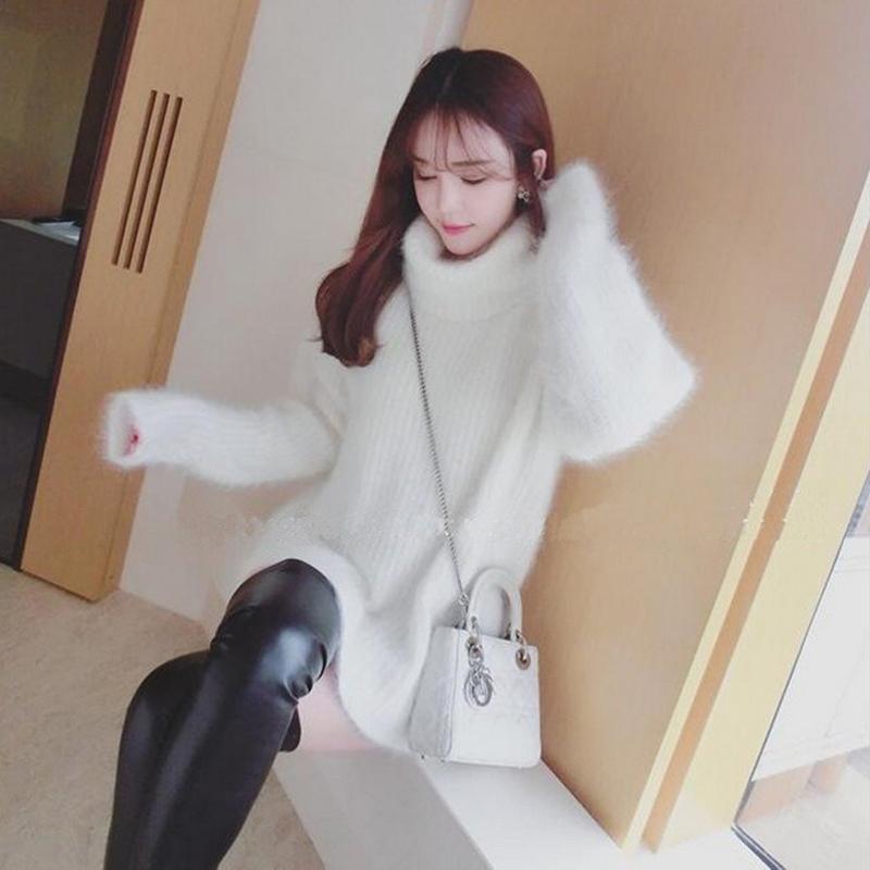 2017秋冬季新款小清新白色高领毛衣女套头中长款宽松韩版针织外套