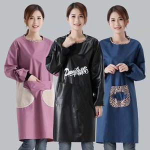 Apron women's fashion waterproof oil-resistant thin section breathable home kitchen cooking long sleeves overalls men's clothing
