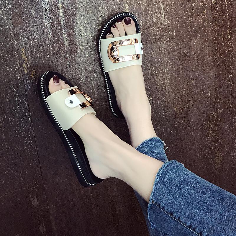 一字拖鞋女夏中跟外穿塑胶欧美风金属扣水钻时
