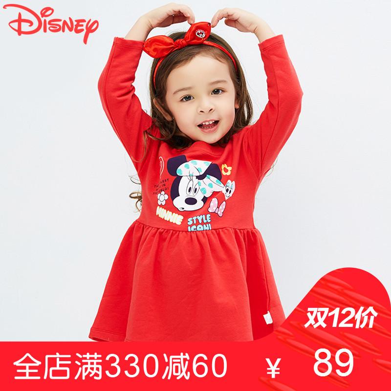 迪士尼女童连衣裙春秋装 女孩公主裙童装裙子儿童薄款童装新款