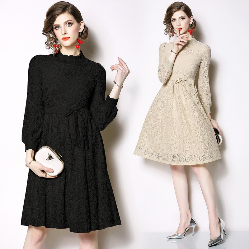 实拍现货9099欧洲站蕾丝了连衣裙名媛气质复古裙修身 -