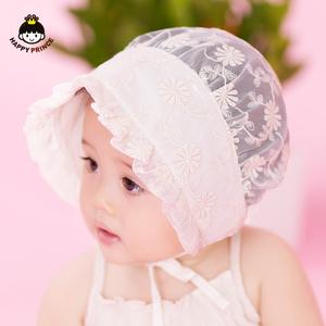 新生婴儿帽子夏可爱小公主蕾丝透气遮阳胎帽系带女童宝宝帽子夏天