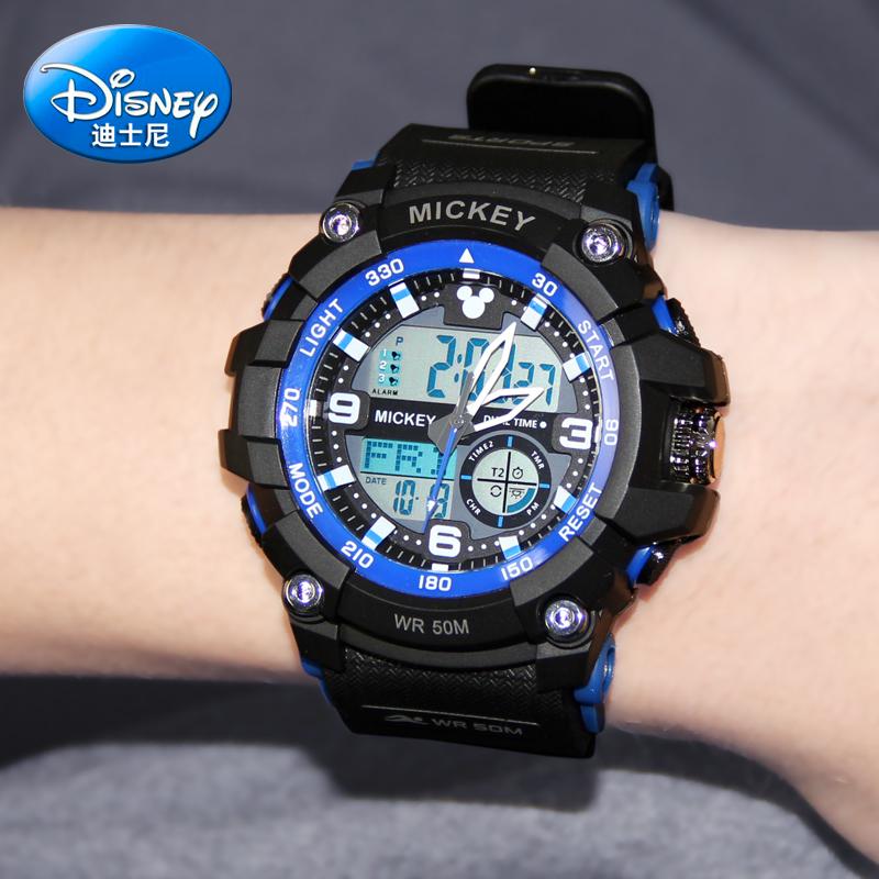 迪士尼儿童手表防水防摔电子手表男中学生夜光多功能小学生电子表