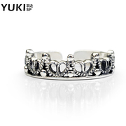 YUKI female silver jewelry 925 Silver Rings Silver ring girl Thai silver Crown little finger Korea Korean fashion new style