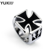 YUKI men''s titanium steel ring vintage cross European and American fashion personality index, City Boy Club original accessories
