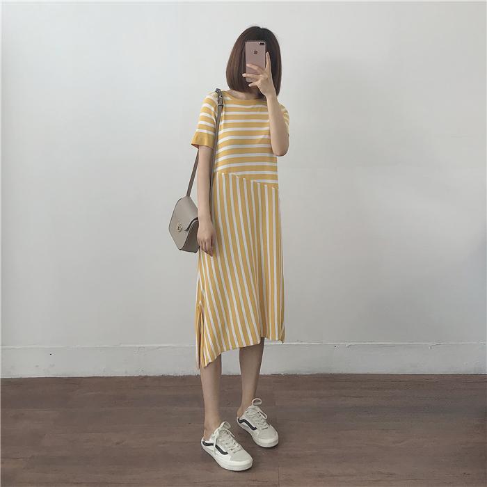 muzi 18夏/黄/蓝/黑 条纹不规则拼接短袖连衣裙针织裙懒人长裙女
