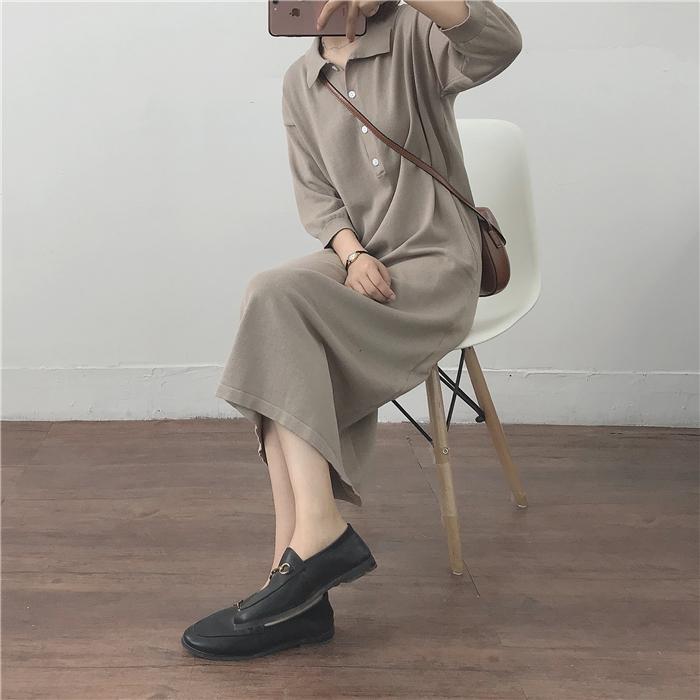 复古 针织 连衣裙 一件 搞定 懒人 长裙 卡其