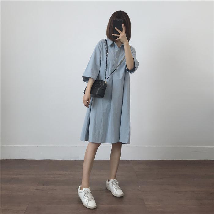 温柔 版型 休闲 连衣裙