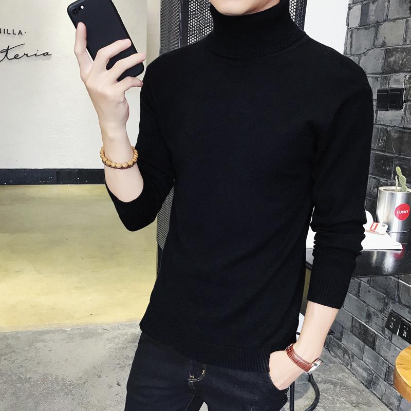 男士高领毛衣冬季套头毛衫加厚针织衫韩版修身加绒纯色黑色打底