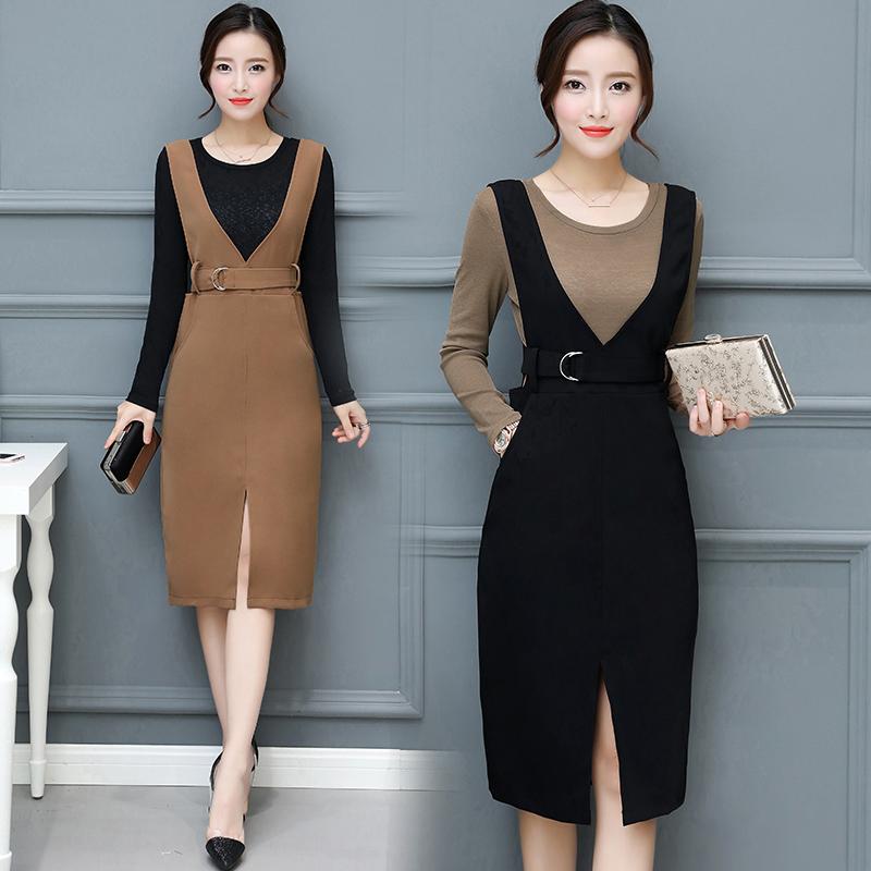 背帶連衣裙2017秋季新款女裝韓版兩件套套裝修身氣質中長款鉛筆裙