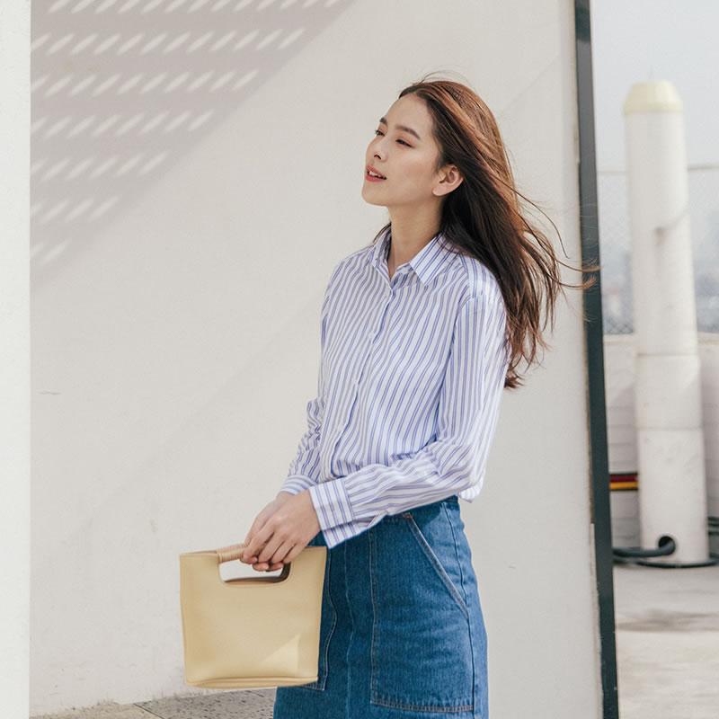 秋2018新款翻领条纹衬衣女长袖t恤衬衫宽松衣秋季女女蓝袖长