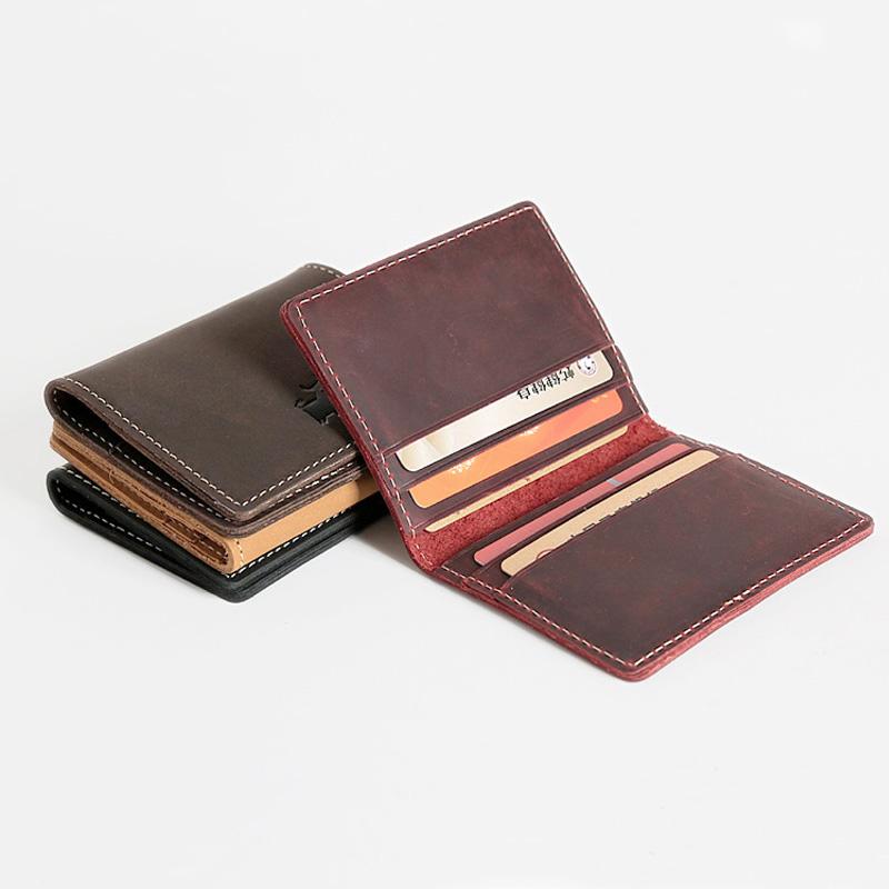 复古头层牛皮疯马皮两折多卡位卡包男士真皮银行卡片包女士名片包