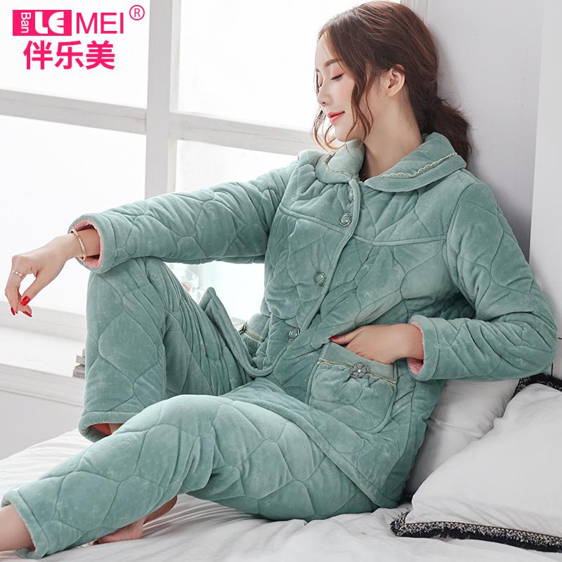 秋冬季睡衣三层夹棉加绒家居服女士中年加肥加大码冬天居家服套装