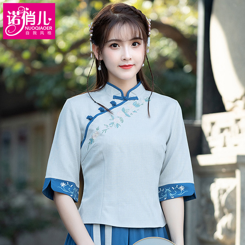中式唐装中国风女装汉服改良旗袍短款棉麻上衣女夏短袖民国风复古