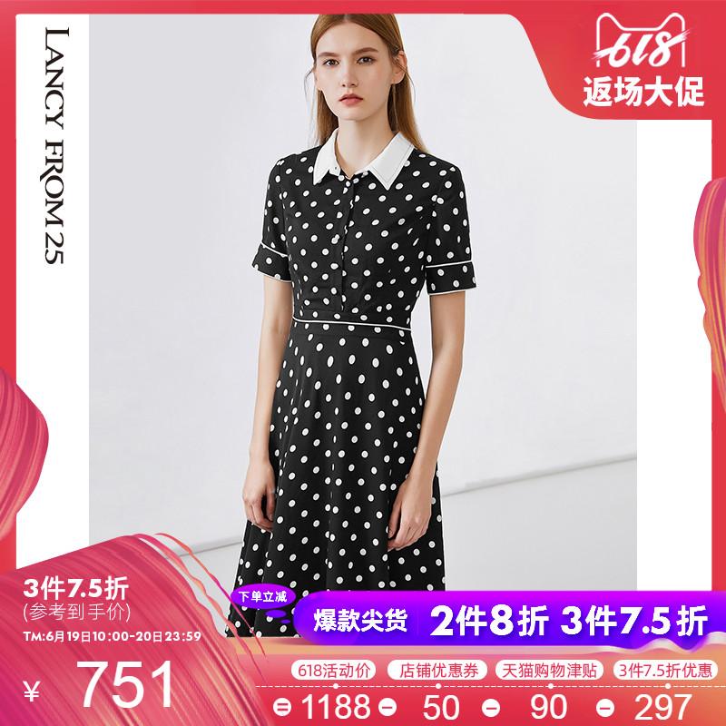 朗姿裙子女2019夏装新款衬衫裙高腰修身波点圆点短袖黑色连衣裙女