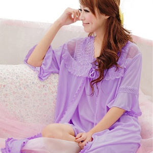 Ice silk robe silk sexy sling summer short sleeve sweater chiffon pajamas shirt summer thin lady nightgown