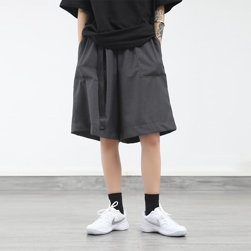 欧美街头夏季阔腿5分中裤薄宽松灰色五分裤嘻哈休闲西装短裤男潮