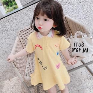 儿童短袖裙子2020夏装新款洋气女童连衣裙洋气彩虹卫衣裙韩版洋气图片