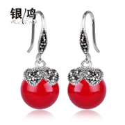 Silver Hong natural red and Black Onyx drop earrings 925 Silver jewelry old silversmith retro exquisite Thai Silver Earring women