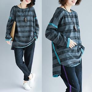 大码女装秋冬季韩版条纹撞色宽松加厚打底衫中长款圆领套头卫衣女