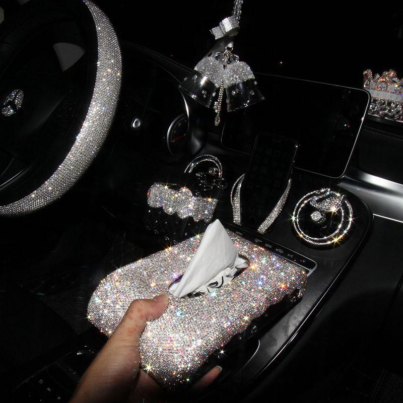 可爱镶钻汽车用品纸巾盒车载摆件汽车装饰车内用品创意套装女