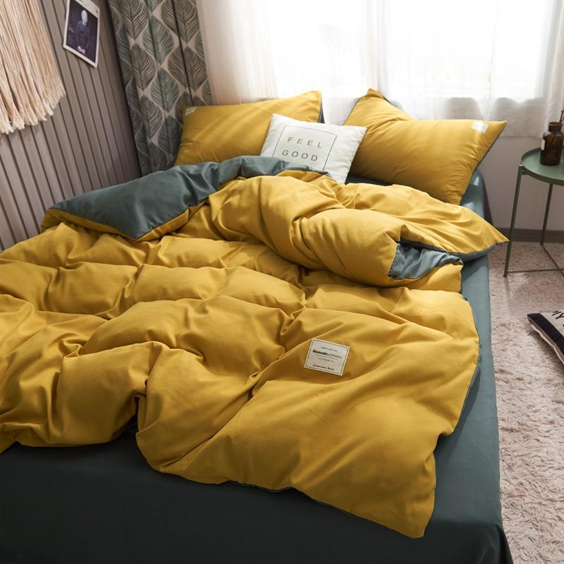 床单被套四件套 简约北欧ins床上床笠一米八被罩黄色1.2床 三件套