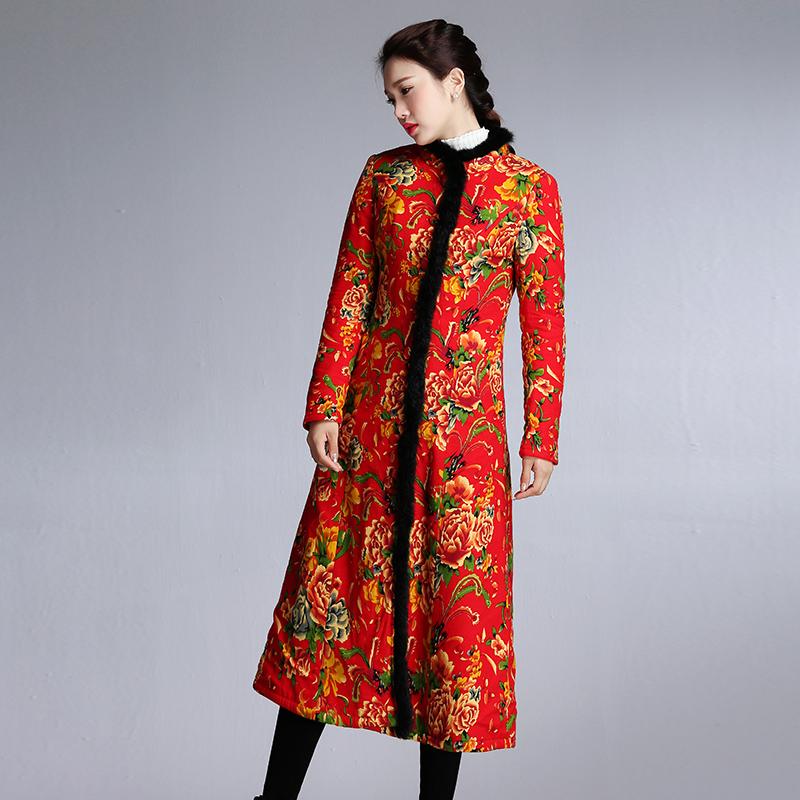民族风大花布大棉衣女修身显瘦真毛领复古棉大衣冬新款加厚单排扣