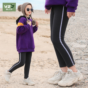 Girl's leggings autumn and winter western style big child slim black pencil stretch plus velvet feet pants nine points boots pants