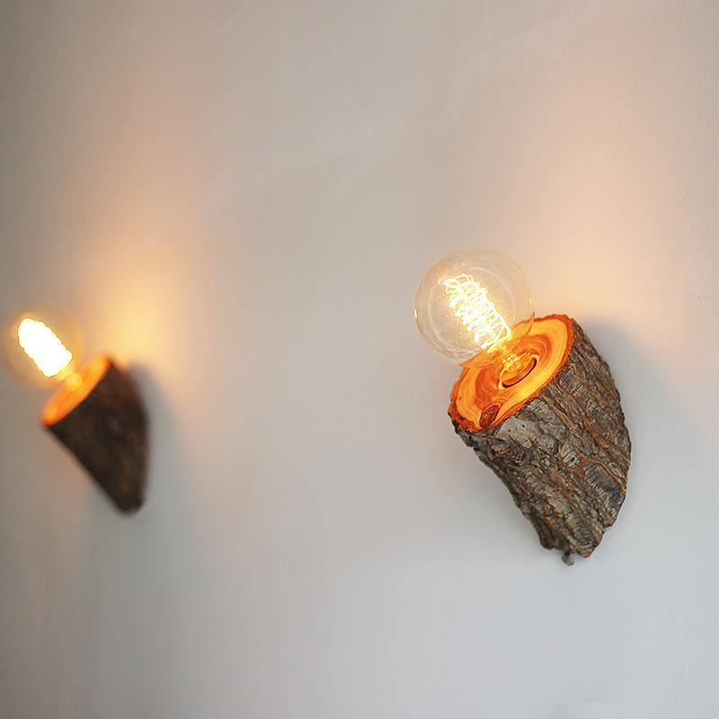 【山榆木髓壁灯】创意实木LED床头灯卧室灯酒店走廊餐厅田园壁灯