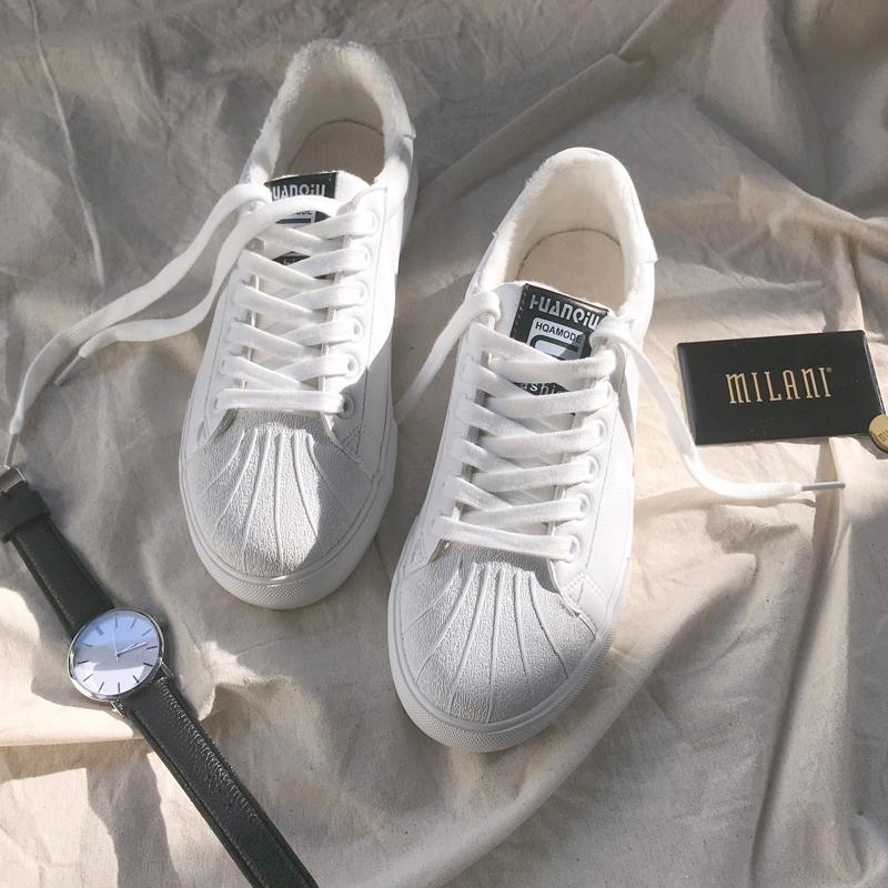 环球小白鞋女2018新款秋冬季加绒百搭基础韩版平底学生贝壳板鞋