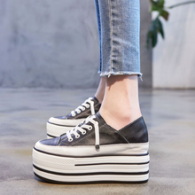 厚底松糕鞋女2y1421年新16增高(小)白鞋休闲两穿真皮单鞋子百搭