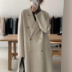 韩国chic冬季西装领双排扣休闲宽松过膝长款保暖毛呢外套呢子大衣
