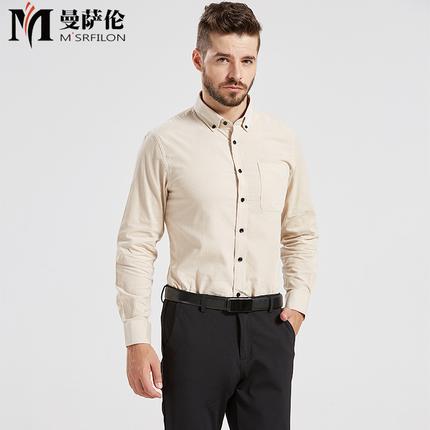 曼萨伦2018春秋新品男士商务休闲纯色纯棉灯芯绒长袖衬衫CX18001