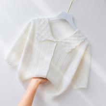 短袖t恤女冰丝针织外搭薄开衫甜dq12娃娃领na清新短式外套