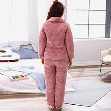 Antarctic cotton pajamas women's winter thickened Plush home clothes suit coral Plush warm lovely autumn winter