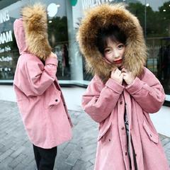 童装,女童,秋冬,2017,新款,外套,儿童,中大童,加厚,灯芯绒,大衣,绿色,120cm