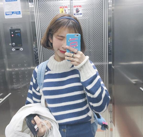 秋装新款韩国ulzzang原宿BF风宽松条纹套头长袖毛衣外套女学生潮