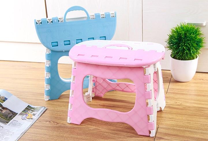加厚可折叠凳子承重100斤内 儿童卡通塑料小板凳户外创意椅子迷你