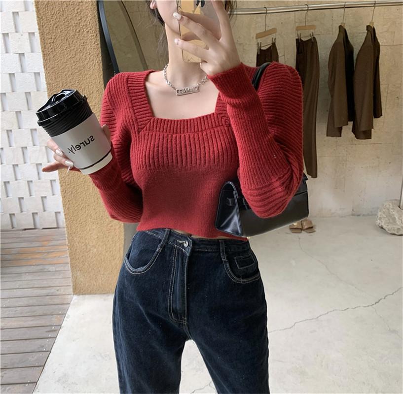 韩版方领泡泡袖复古长袖短款洋气套头针织衫女实拍实价-潇依服饰-