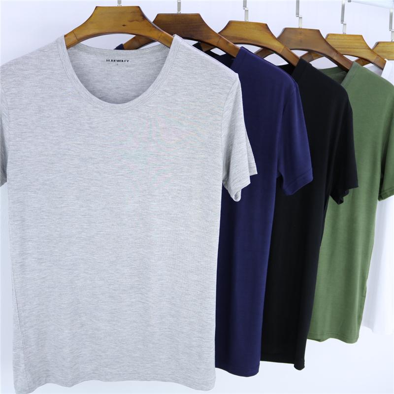 莫代尔男t恤短袖圆领打底汗衫大码宽松休闲纯色运动加肥纯棉半袖