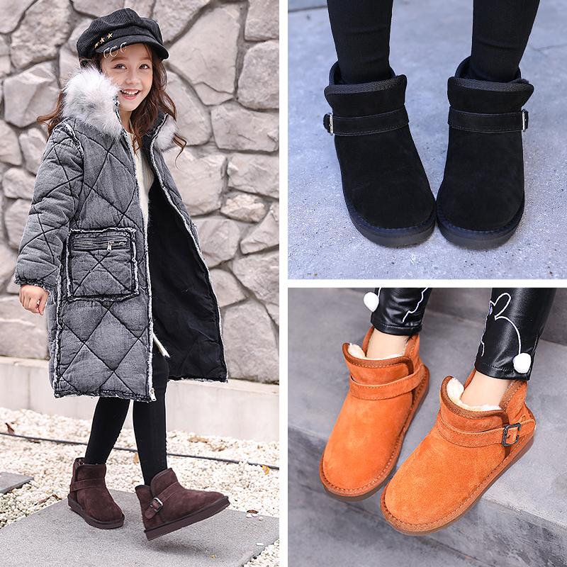 真皮儿童雪地靴女童鞋秋冬款棉靴子2017新款男童宝宝棉鞋冬季短靴