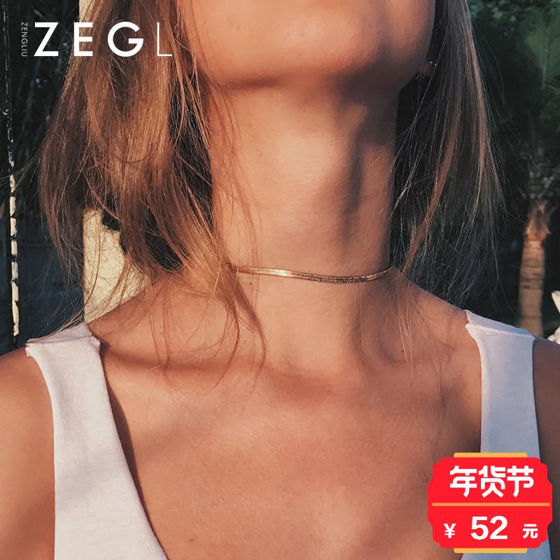 ZENGLIUchoker蛇骨项链 女短款锁骨链简约脖颈链项圈韩国脖子饰品