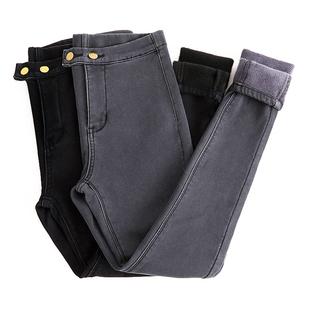 加绒牛仔裤女冬季高腰新款韩版灰黑保暖加厚小脚外穿打底铅笔长裤