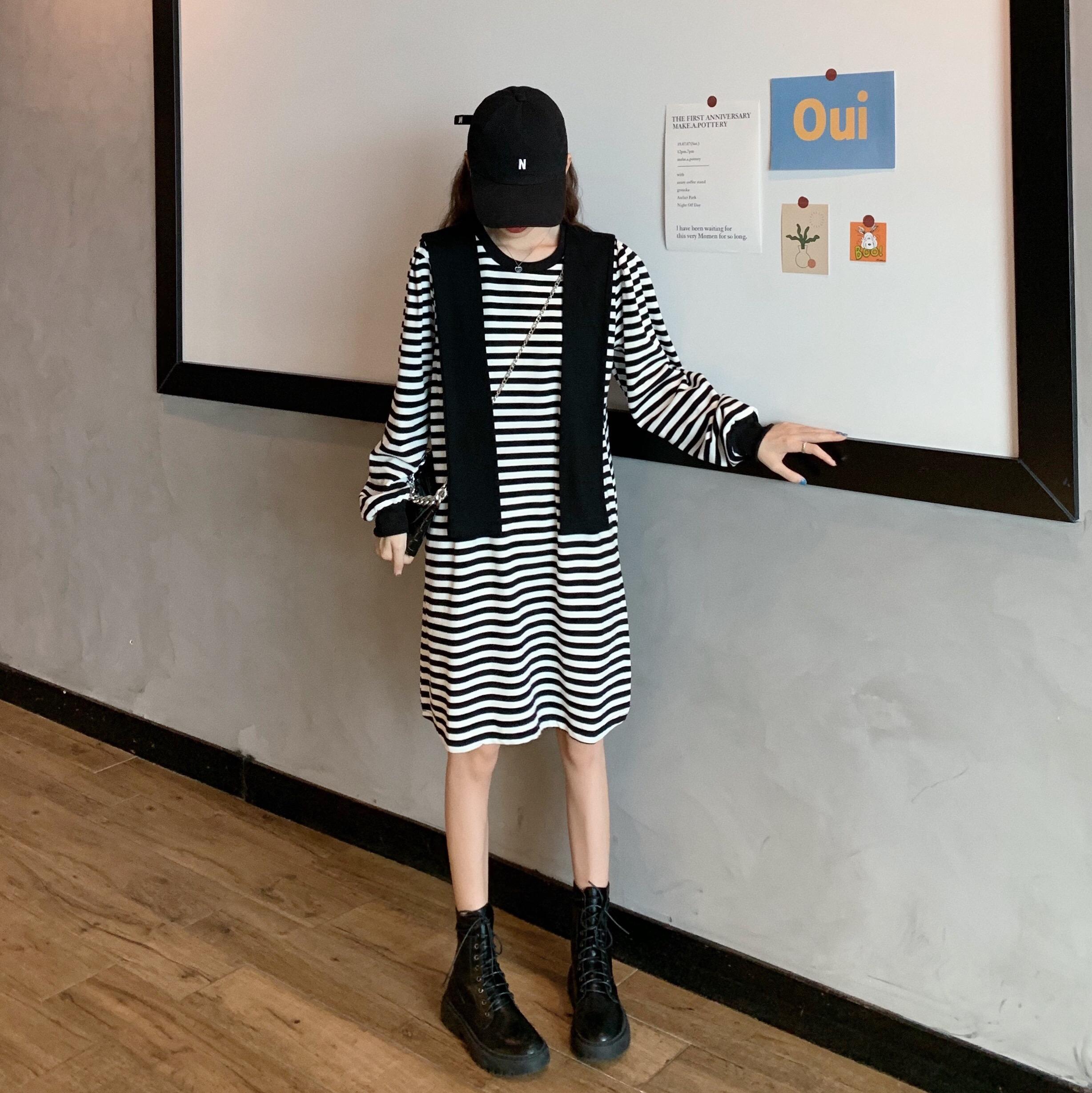 实价实拍 韩版收腰显瘦条纹连衣裙女秋季新款长袖裙子+披肩-校花-