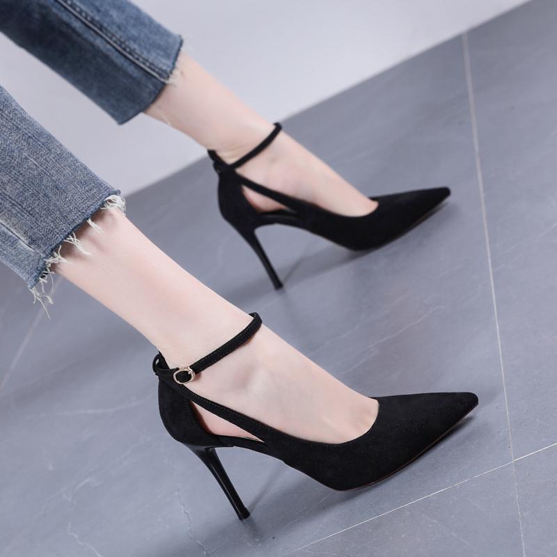 一字扣带小清新高跟鞋细跟2019新款性感女鞋浅口百搭镂空尖头单鞋