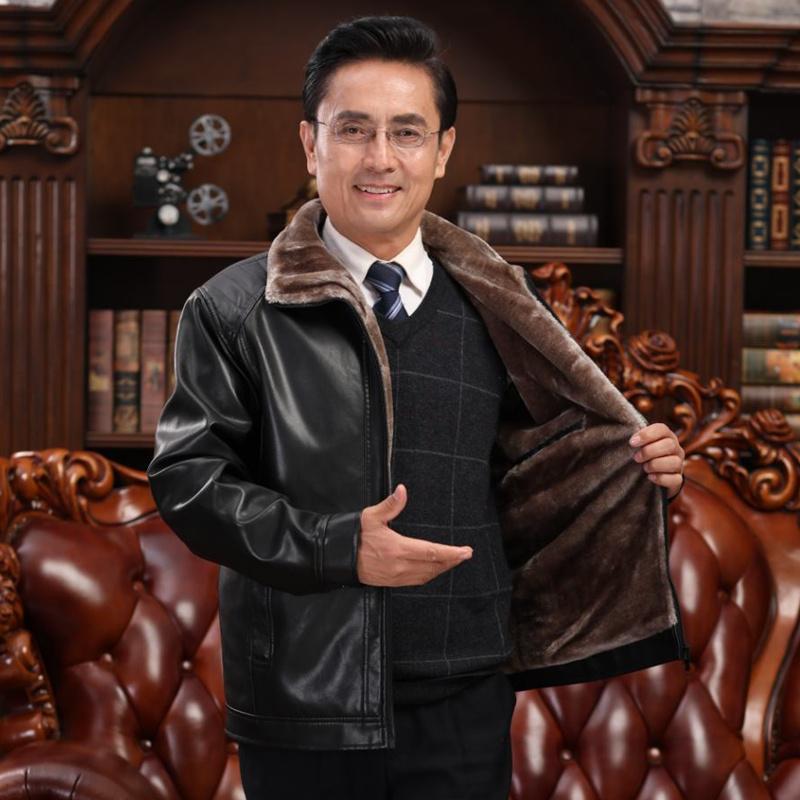 海宁皮衣男中年男士冬季外套皮毛一体男加绒加厚爸爸装中老年男装