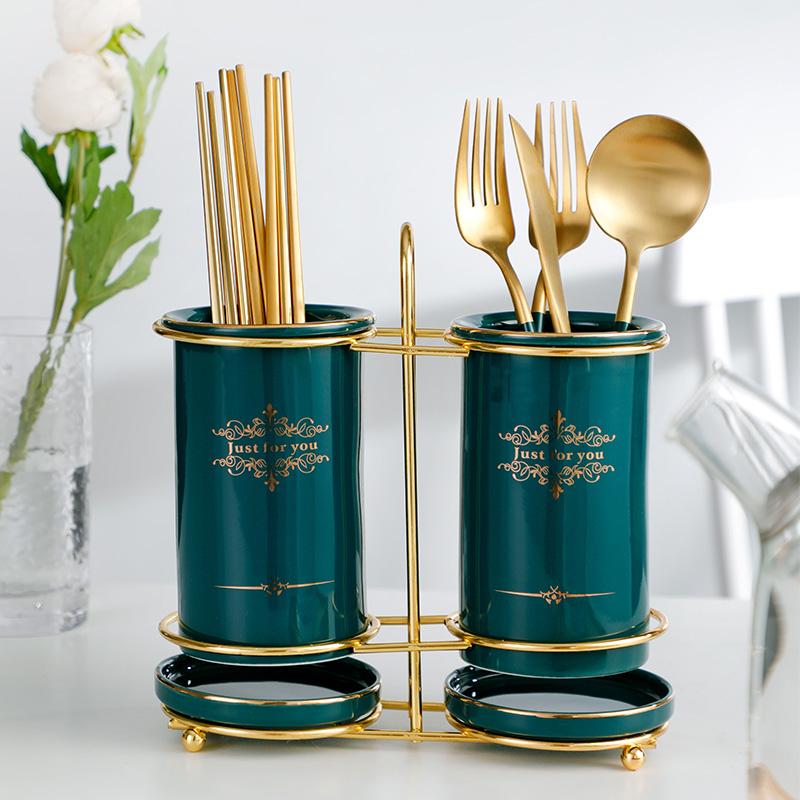 筷子筒筷篓收纳筷子桶置物架陶瓷筷子笼厨房沥水祖母绿轻奢筷子篓