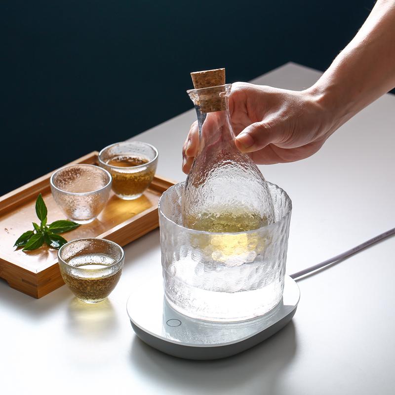 樱花阁 日式玻璃酒具套装创意锤纹清酒壶家用温酒壶分酒器白酒杯