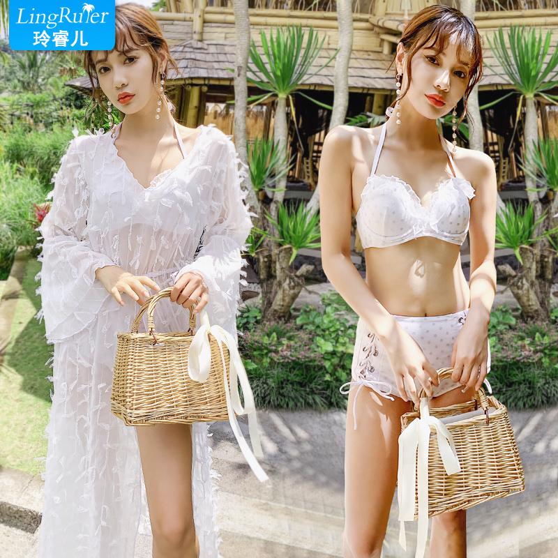 韩国分体泳衣女三件套比基尼小香风裙式遮肚小胸聚拢泡温泉游泳衣